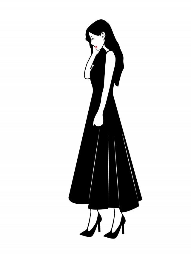 黒色のワンピースを着た女性横向き 無料イラスト素材素材ラボ