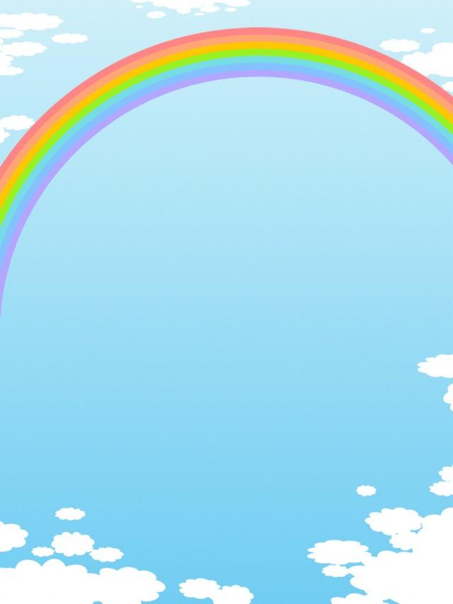 虹と空と雲の壁紙フレーム背景素材イラスト 無料イラスト素材素材ラボ