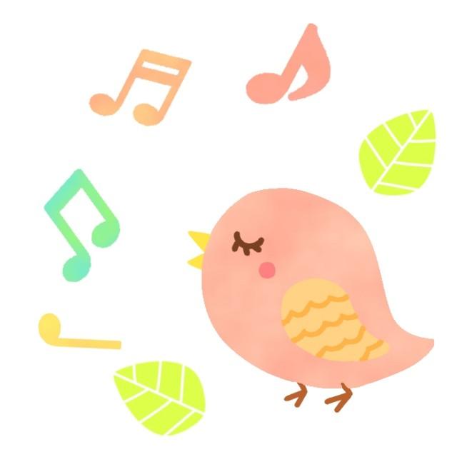歌う小鳥と音符音楽イラスト 無料イラスト素材素材ラボ