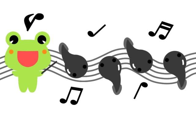 かえるとおたまじゃくし音楽イラスト 無料イラスト素材素材ラボ
