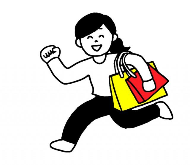 買い物に行く女性のイラスト | 無料イラスト素材|素材ラボ