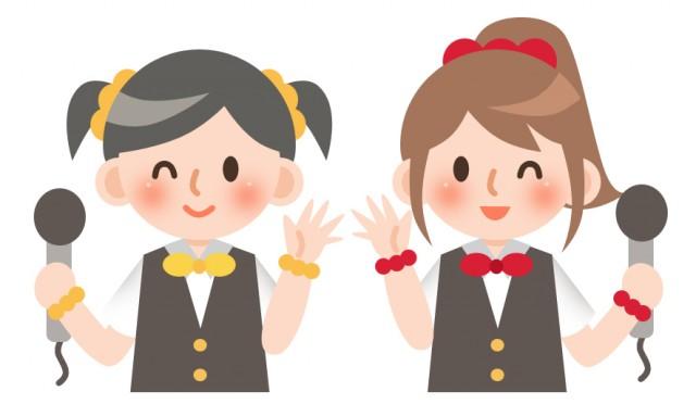 音楽 アイドルの二人の女の子 無料イラスト素材素材ラボ