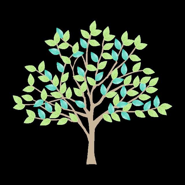 新緑の木の水彩風イラスト透過pngベクター 無料イラスト素材