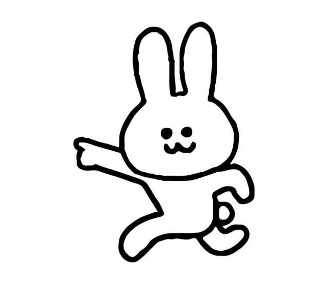 左を指さすウサギのイラスト 無料イラスト素材素材ラボ