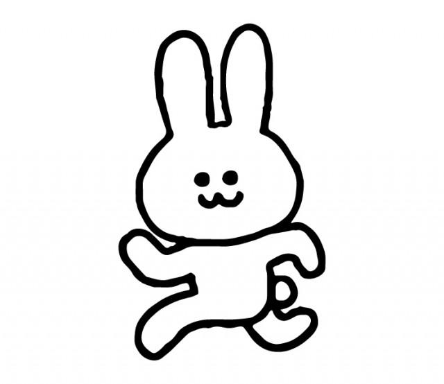 左方向に走るウサギのイラスト 無料イラスト素材素材ラボ