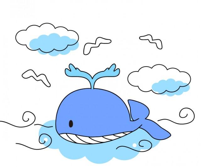 泳ぐクジラのイラスト素材 無料イラスト素材素材ラボ