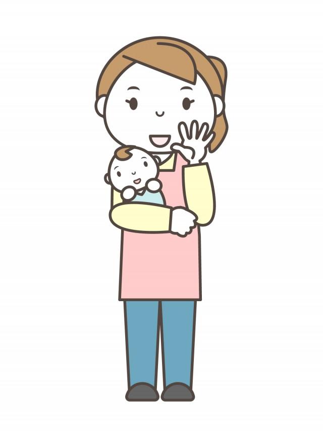 赤ん坊を抱き手を振るピンクのエプロンを着用した女性 全身 無料イラスト素材 素材ラボ
