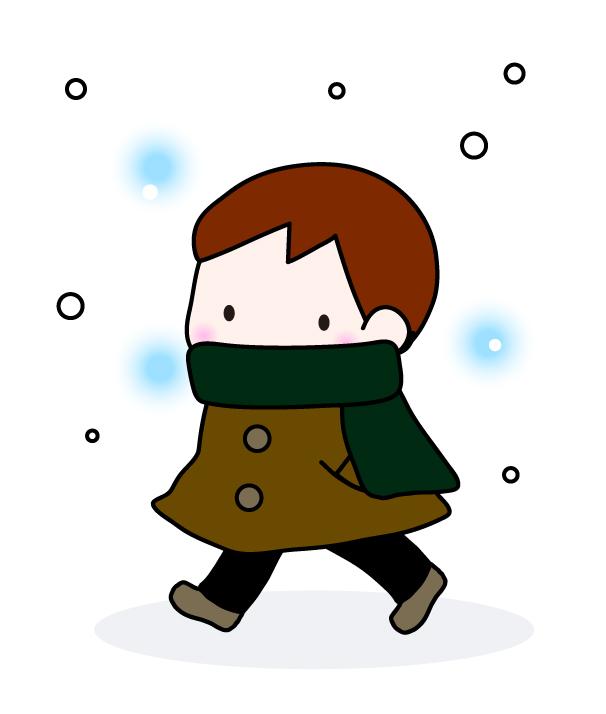 マフラーとコートを着た男の子 無料イラスト素材素材ラボ