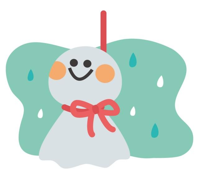 梅雨のてるてる坊主 | 無料イラスト素材|素材ラボ