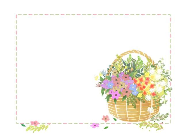 花かごフレーム 無料イラスト素材素材ラボ