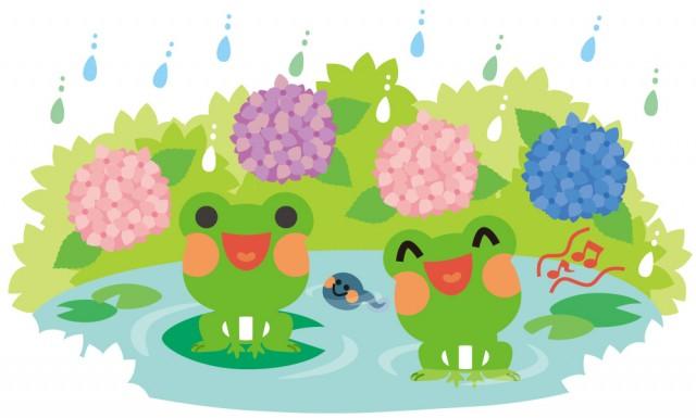 梅雨のカエルイラスト 無料イラスト素材素材ラボ