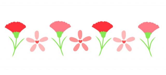 カーネーションとお花のラインのイラスト | 無料イラスト素材|素材ラボ