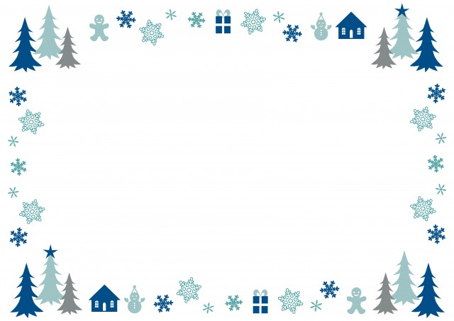 冬の森のフレーム 無料イラスト素材素材ラボ