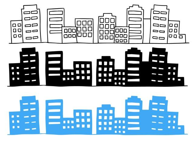 ビル群のイラストセット 無料イラスト素材素材ラボ