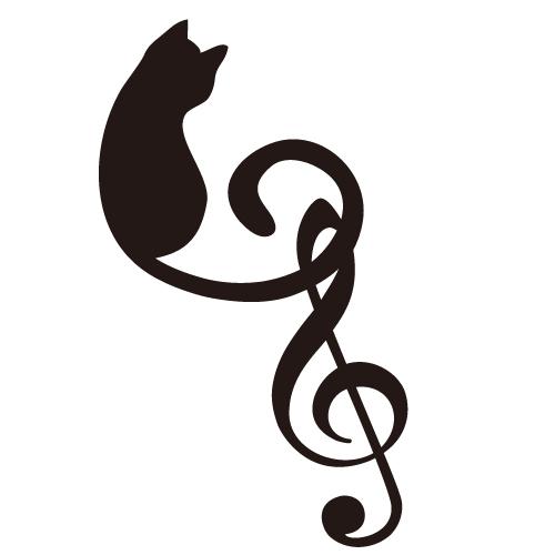 ト音記号と猫のシルエットイラスト2 無料イラスト素材素材ラボ