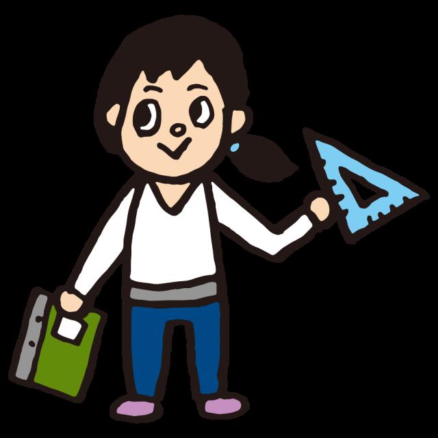 かわいい人物教師数学女性三角定規 無料イラスト素材素材ラボ