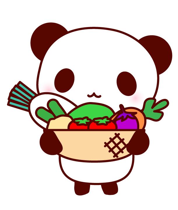 野菜とパンダのイラスト 無料イラスト素材素材ラボ