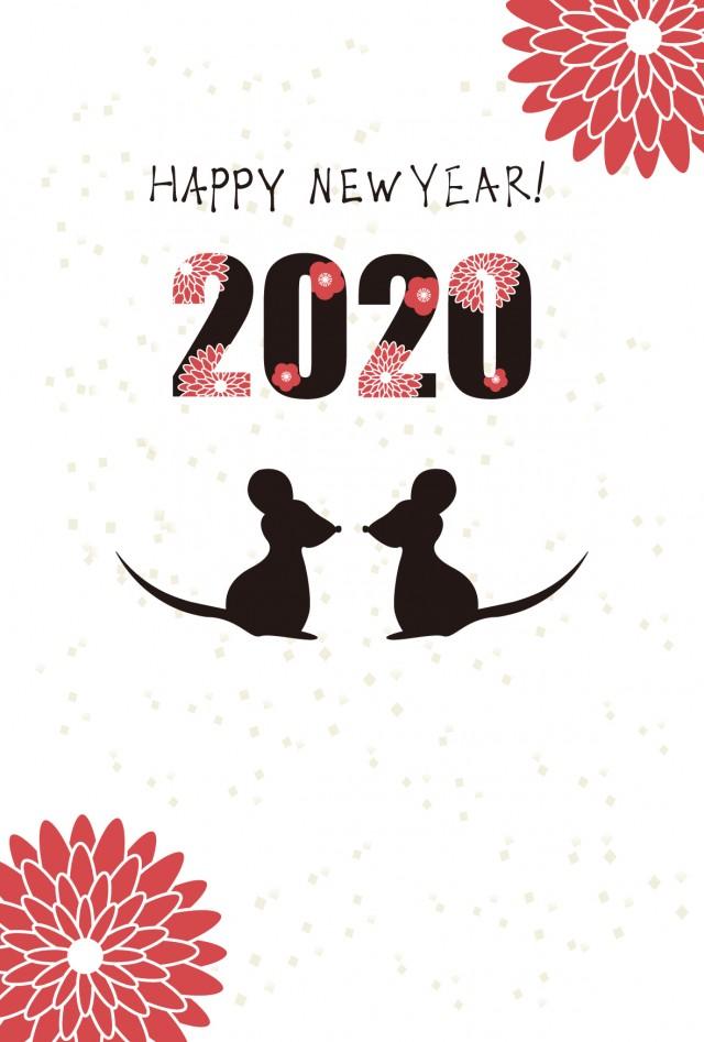 2020年 年賀状 赤色の花とネズミのシルエット