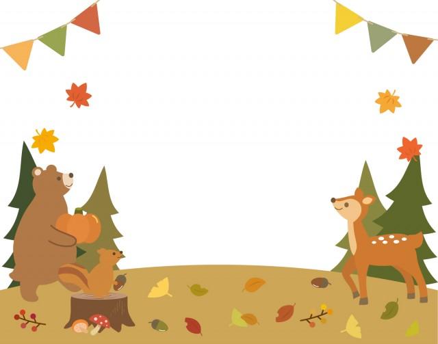 秋の動物フレーム1 無料イラスト素材素材ラボ