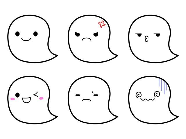 おばけ 6種類 表情 無料イラスト素材 素材ラボ