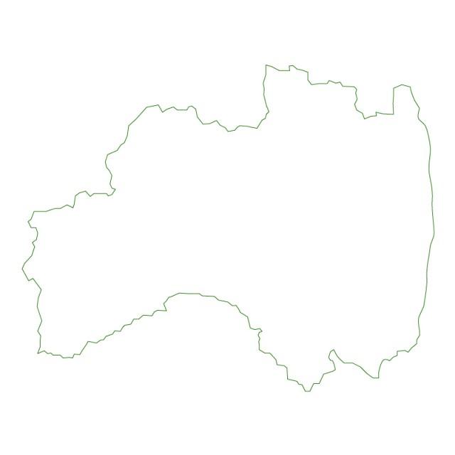 福島県のシルエットで作った地図イラスト緑線 無料イラスト素材