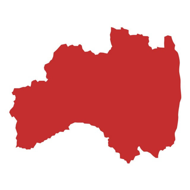 福島県のシルエットで作った地図イラスト赤塗り 無料イラスト素材