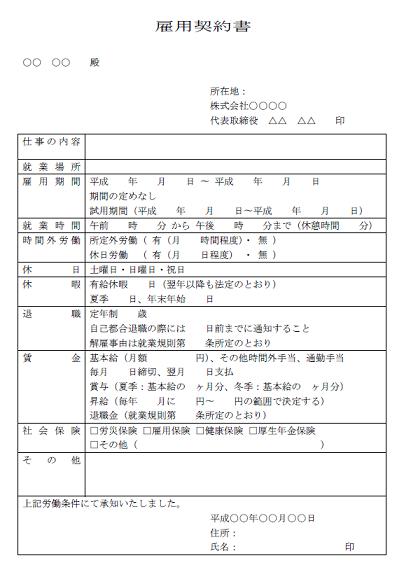 Image result for 雇用契約書
