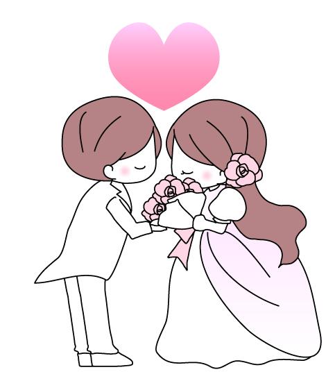 結婚式・花嫁と花婿のイラスト素材