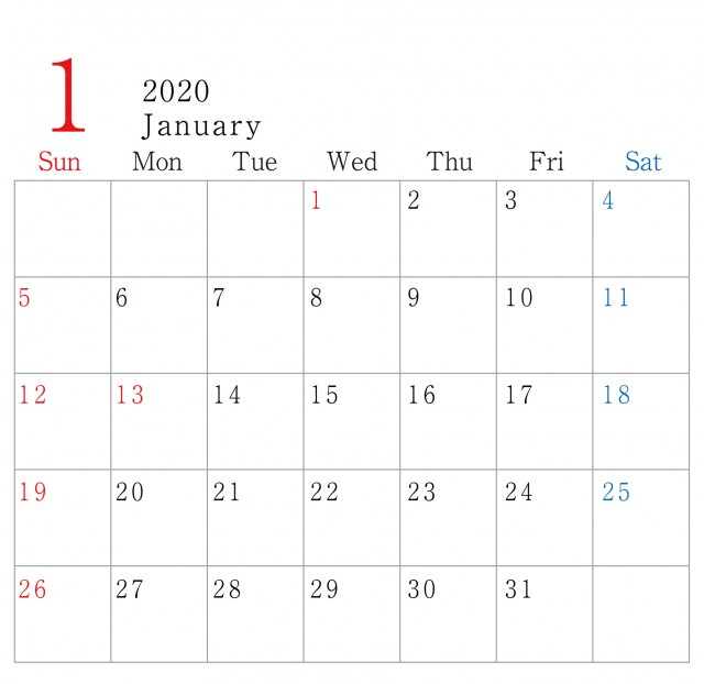 シンプル 横型 2020年 1月 カレンダー