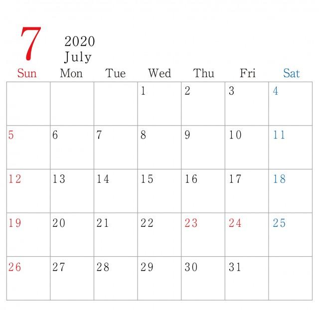 シンプル 横型 年 7月 カレンダー 無料イラスト素材 素材ラボ