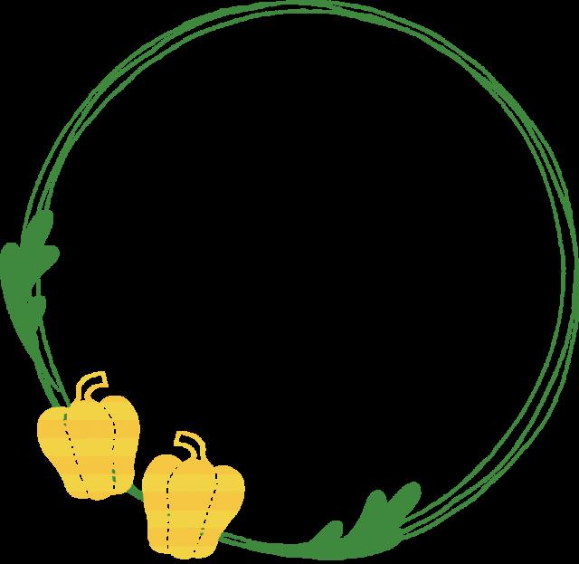 パプリカのリング型のフレーム 黄色 無料イラスト素材 素材ラボ
