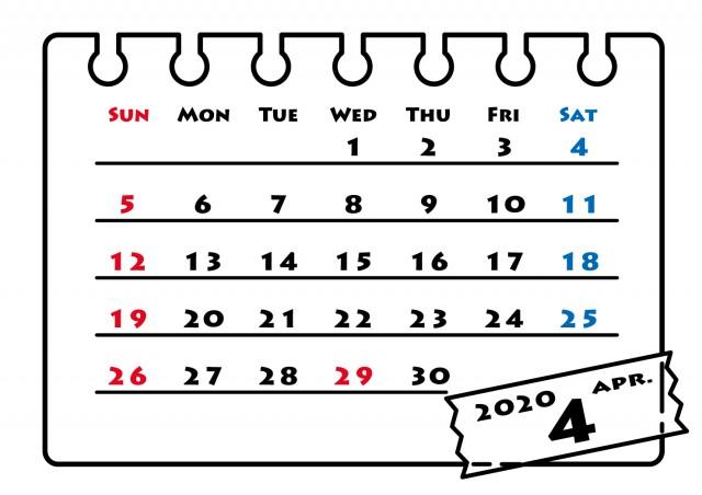 年カレンダー モノクロフレーム 4月 無料イラスト素材 素材ラボ