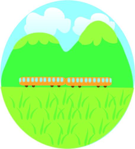 山と電車の風景 無料イラスト素材素材ラボ