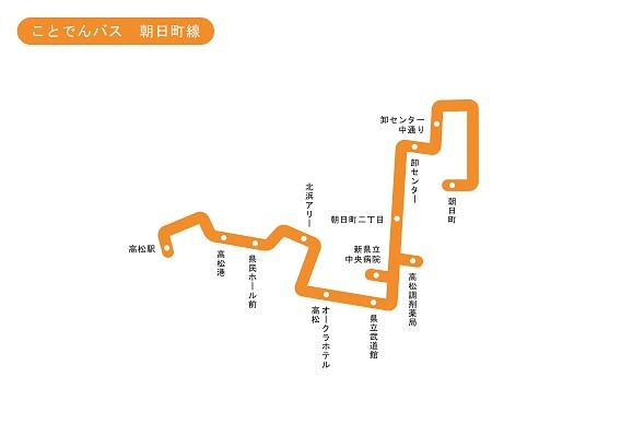 香川県 ことでんバス 朝日町線 路線図 無料イラスト素材素材ラボ