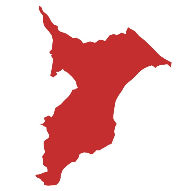 千葉県のシルエットで作った地図イラスト(赤塗り) | 無料 ...