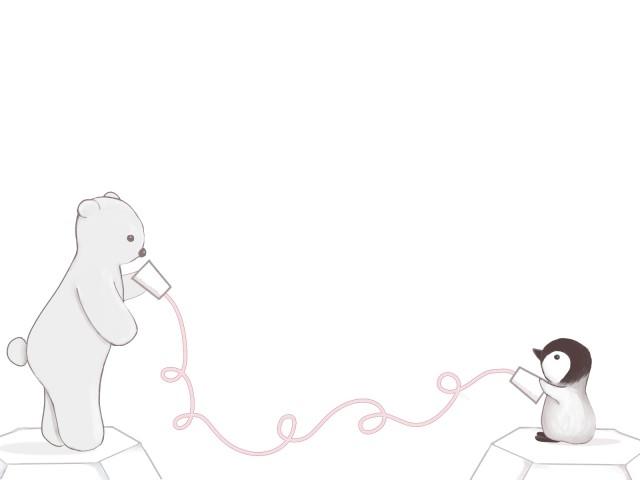 シロクマとペンギンの糸電話 無料イラスト素材 素材ラボ