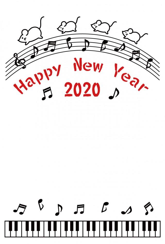 2020年年賀状 ねずみミュージック 縦