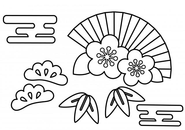 季節の塗り絵 1月 お正月 松竹梅 無料イラスト素材素材ラボ