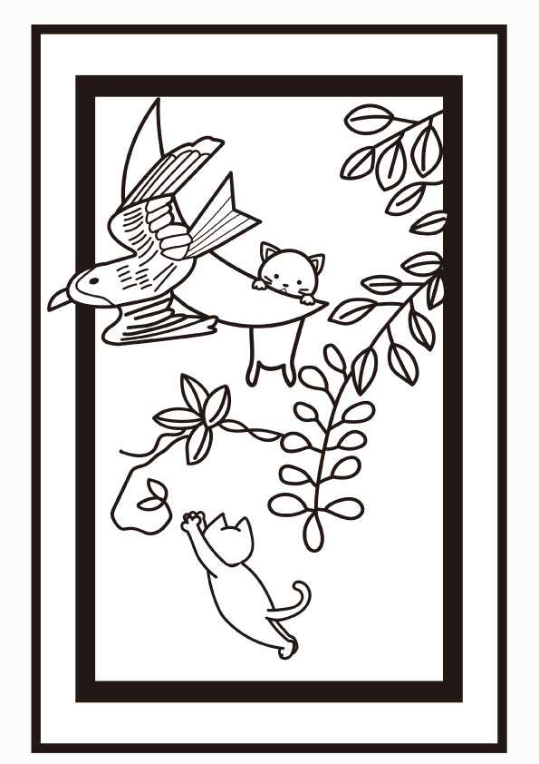 ぬりえ 4月花札 藤にホトトギス 二匹の子猫 無料イラスト素材 素材ラボ