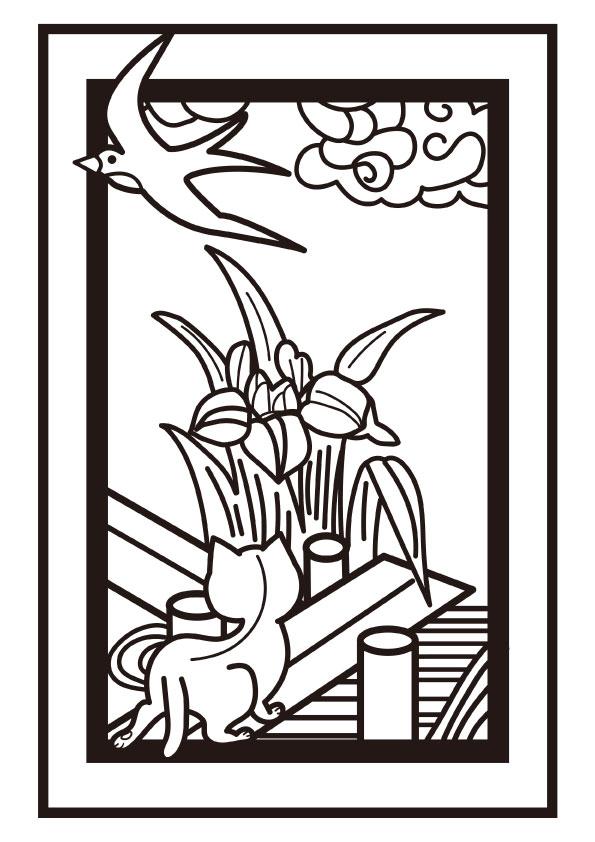 ぬりえ 5月花札 菖蒲に八つ橋 ツバメと子猫 無料イラスト素材 素材ラボ