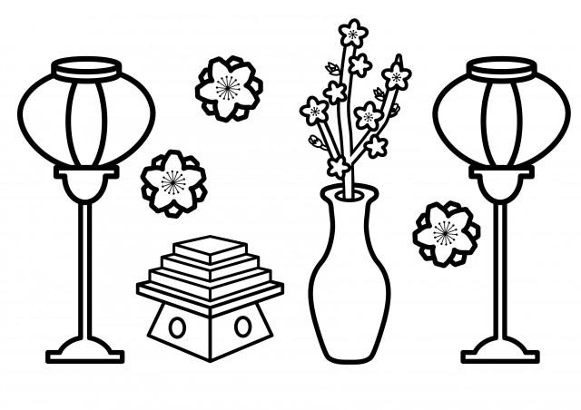 季節の塗り絵 3月 雛祭り ぼんぼり 菱餅 桃の花 無料イラスト素材 素材ラボ