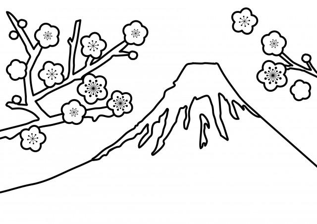 季節の塗り絵 冬 1月 2月 3月 富士山と梅 無料イラスト素材 素材ラボ