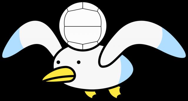 バレーボールを持つカモメのキャラクターcsaipng 無料イラスト