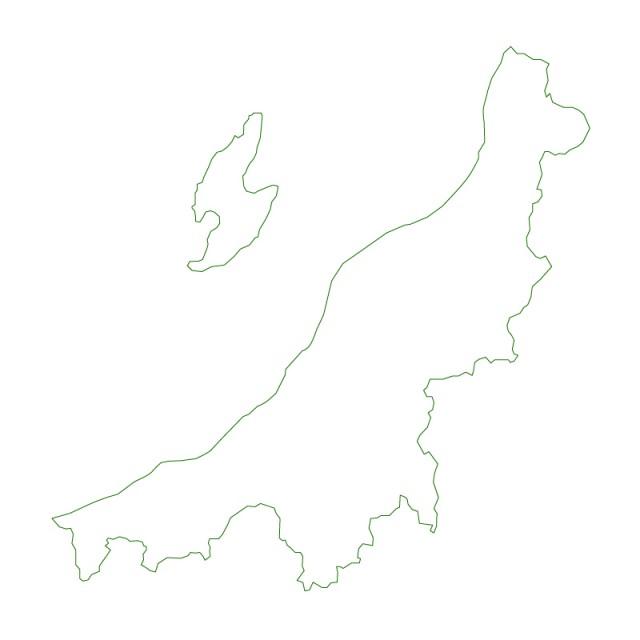 新潟県のシルエットで作った地図イラスト緑線 無料
