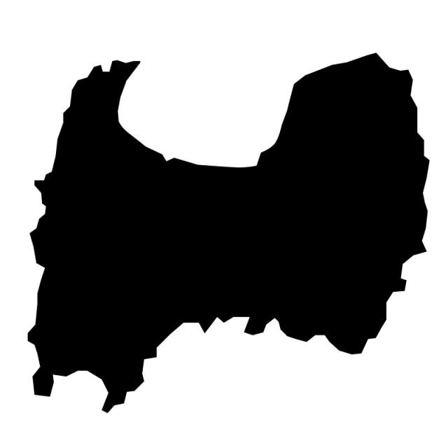 富山県のシルエットで作った地図イラスト黒塗り 無料イラスト素材