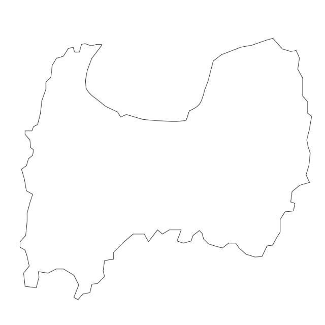 富山県のシルエットで作った地図イラスト黒線 無料イラスト素材