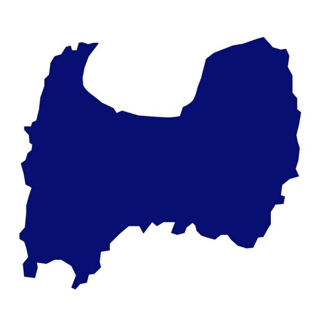 富山県のシルエットで作った地図イラスト青塗り 無料イラスト素材