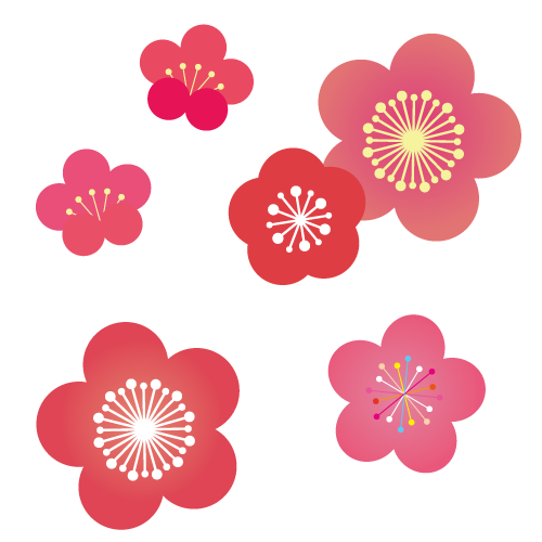 年賀状 梅の花イラストjpg透過pngpdfeps 無料イラスト素材
