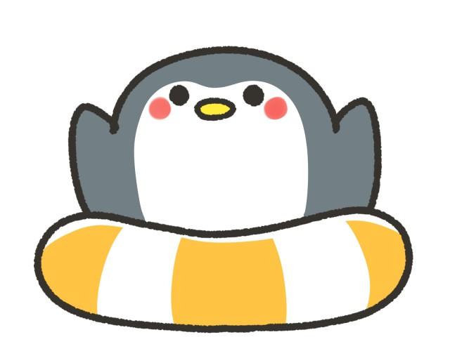 浮輪とかわいいペンギン 無料イラスト素材 素材ラボ