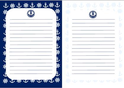 マリン柄青白便箋テンプレート 無料イラスト素材素材ラボ